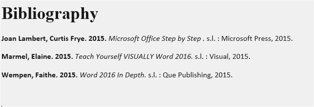 example of Bibliography in Word 2016