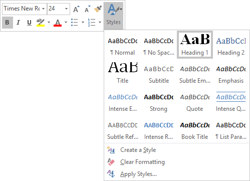 styles of Bibliography in Word 2016