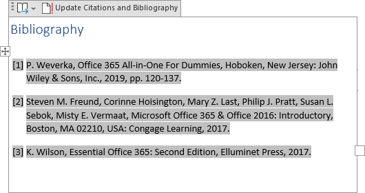 example of Bibliography in Word 365