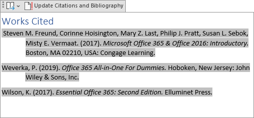 example of Works Cited in Word 365