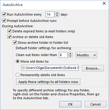 AutoArchive in Outlook 2016