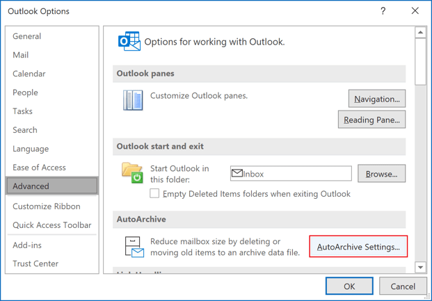 AutoArchive Settings in Outlook 365 Options