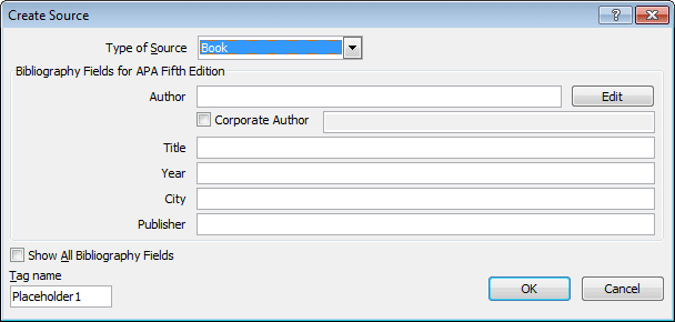 Create Source Word 2010