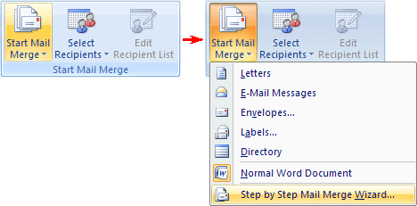Start Mail Merge in Word 2007