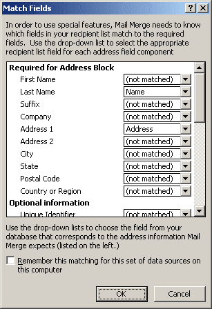 Match Fields in Word 2007
