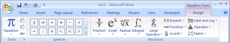 Equation Tools Design in Word 2007
