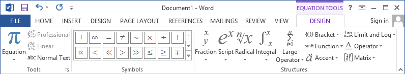 Equation Tools Design in Word 2013