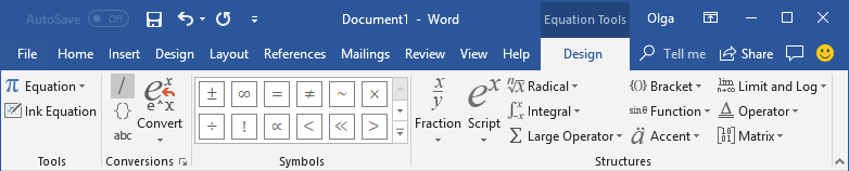 Equation Tools Design in Word 2016