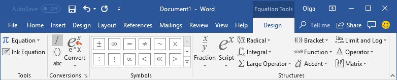Công cụ Equation Design trong Word 2016