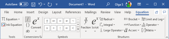 Equation Tools Design in Word 365