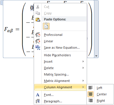 Column Alignment in Word 2010