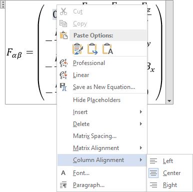 Column Alignment in Word 2013
