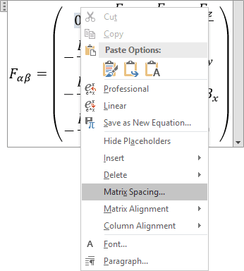 Matrix Spacing in Word 2016