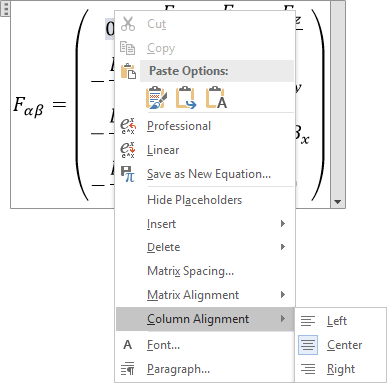 Column Alignment in Word 2016