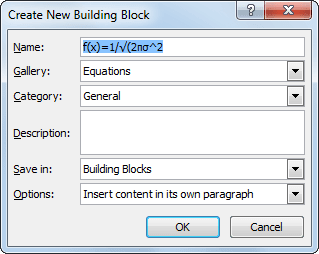 Create New Building Block in Word 2010