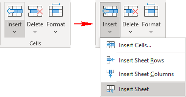 Insert Worksheet in the ribbon in Excel 365