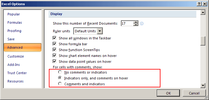 Indicator option in Excel 2007