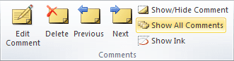 Comments group in Excel 2010