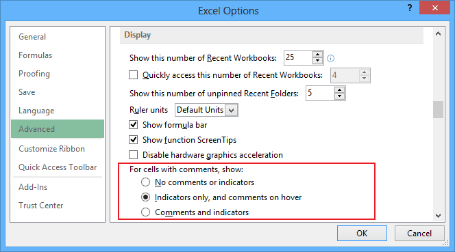 Indicator options in Excel 2013