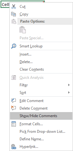 comment popup in Excel 2016