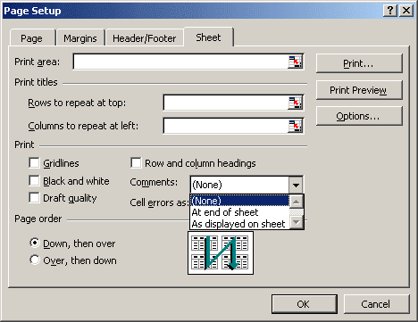 Page Setup dialog box in Excel 2003