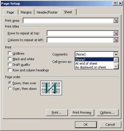 Page Setup dialog box in Excel 2007