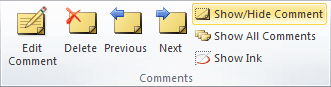 Show/Hide Comment in Excel 2010