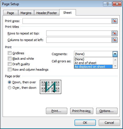 Page Setup dialog box in Excel 2010