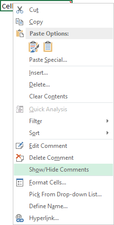 Comment popup in Excel 2013
