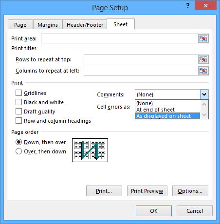 Page Setup dialog box in Excel 2013