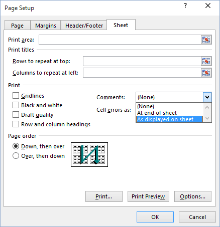 Page Setup dialog box in Excel 2016