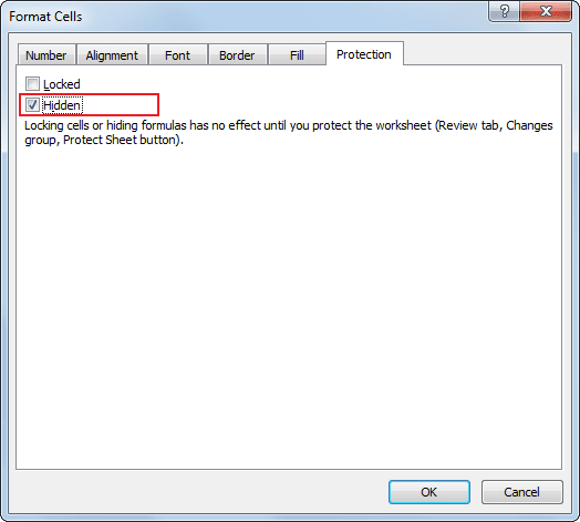 Hidden Cell in Excel 2010