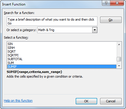 Insert Function Excel 2010