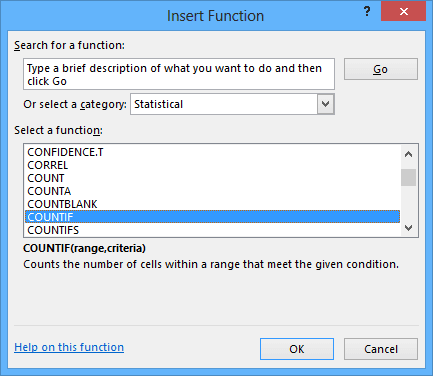Insert Function Excel 2013
