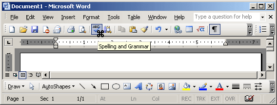 Toolbar with cursor in Word 2003