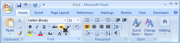 Toolbar with cursor in Word 2007