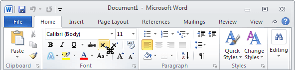 Toolbar with cursor in Word 2010