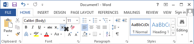 Toolbar with cursor in Word 2013