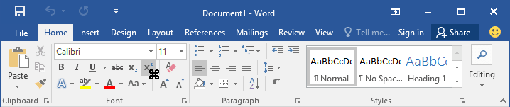 Toolbar with cursor in Word 2016