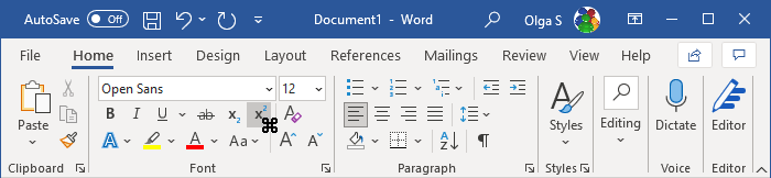 Toolbar with cursor in Word 365