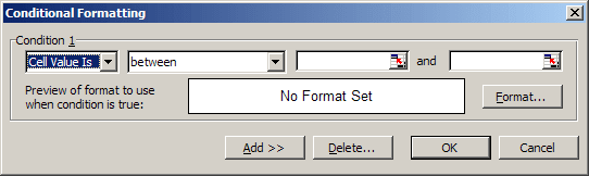 conditional in Excel 2003