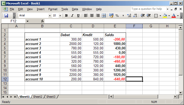 example in Excel 2003