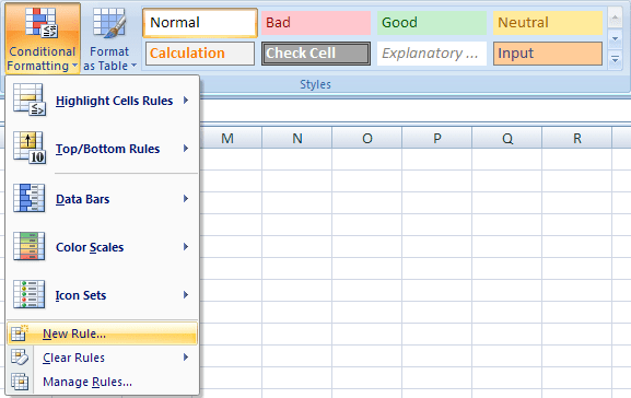 conditional in Excel 2007