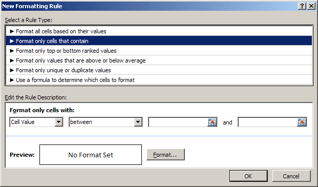 New rule in Excel 2007
