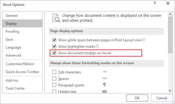 Turn on/off document tooltips