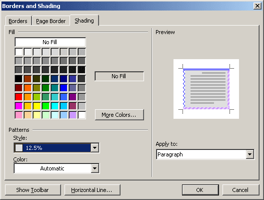 Shading in Word 2003