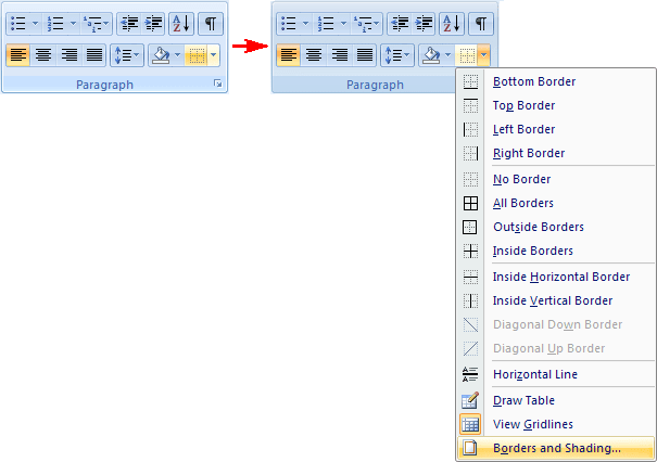 Paragraph in Word 2007