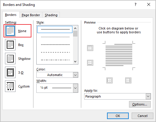 Remove borders in Word 365
