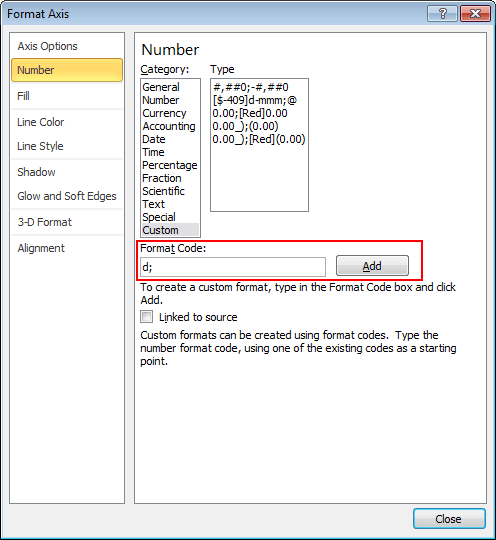 Add Format Code in Excel 2010