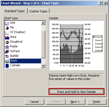 Chart preview in Excel 2003